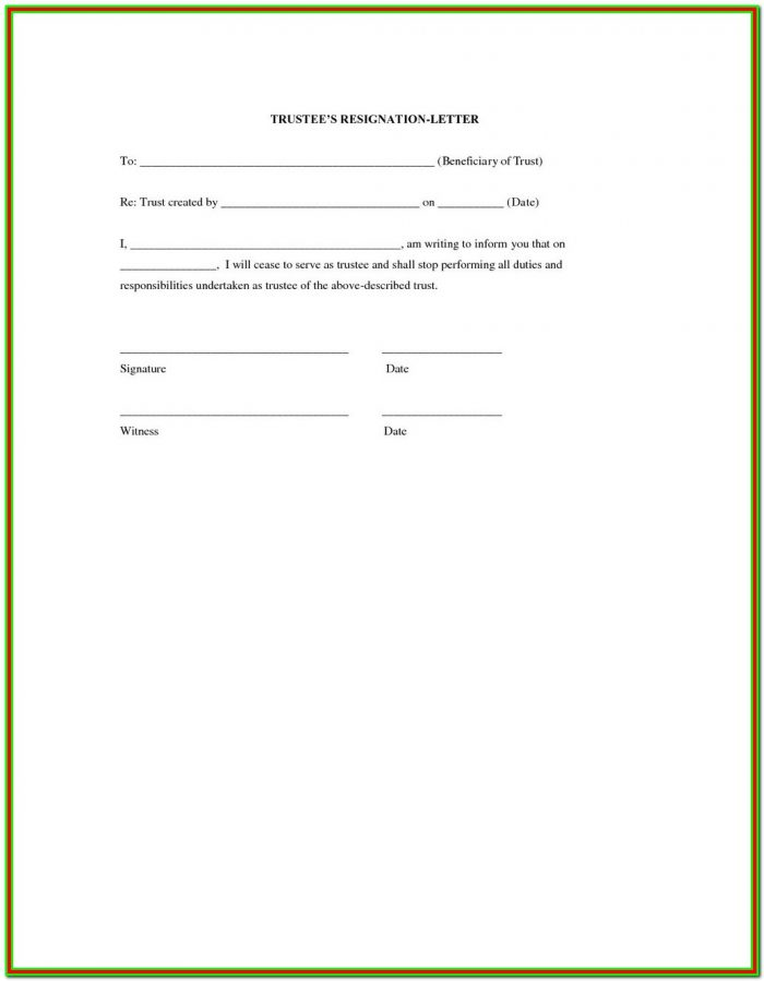 Successor Trustee Resignation Form California