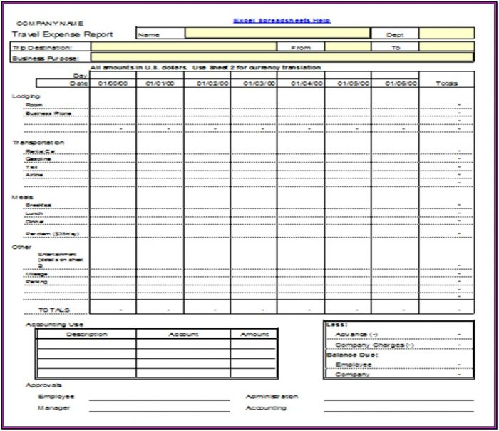Travel Expense Report Form Excel