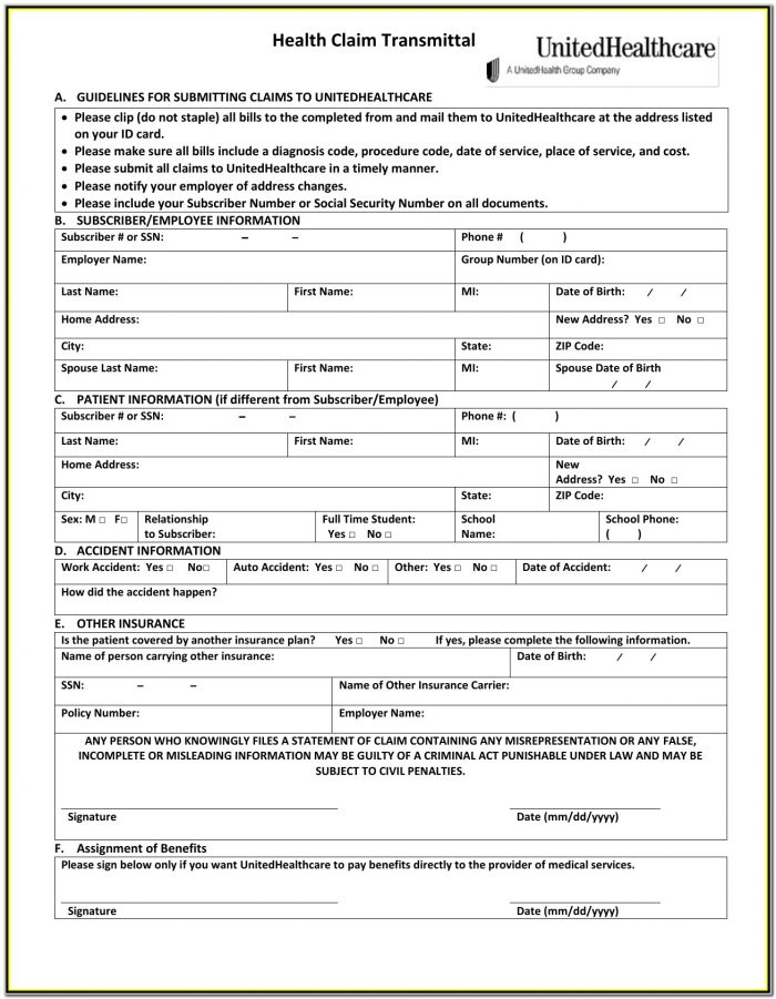 Unitedhealthcare Insurance Claim Form 1500