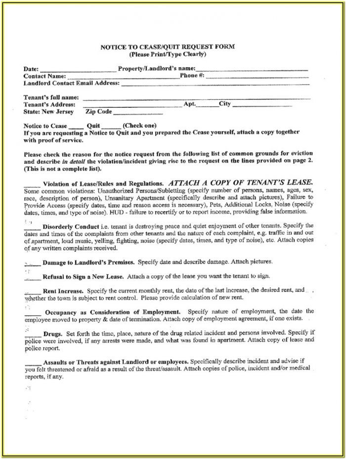 Apartment Lease Agreement Form Nj