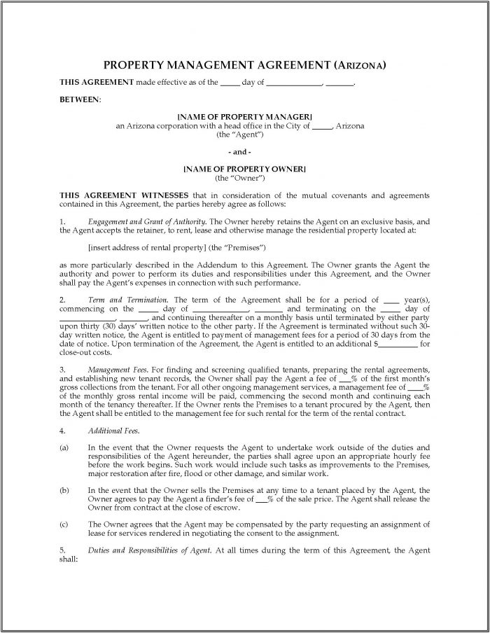 Arizona Home Rental Agreement Form