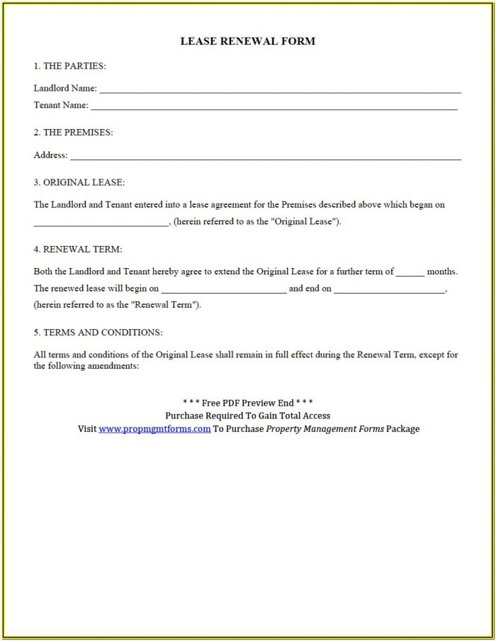 Arizona Residential Lease Renewal Form