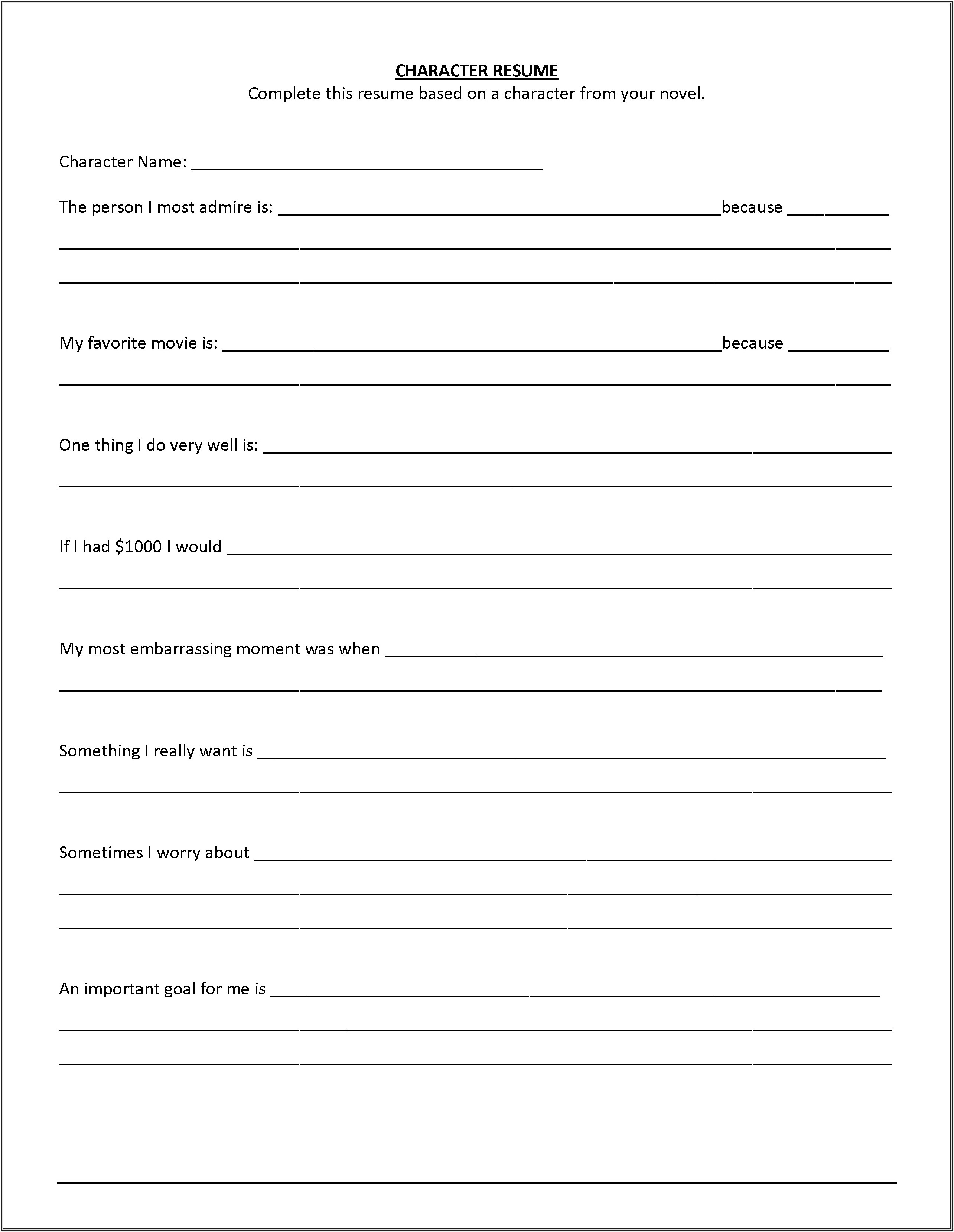 Blank Resume Forms To Print