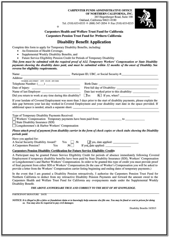California State Disability Forms Pdf