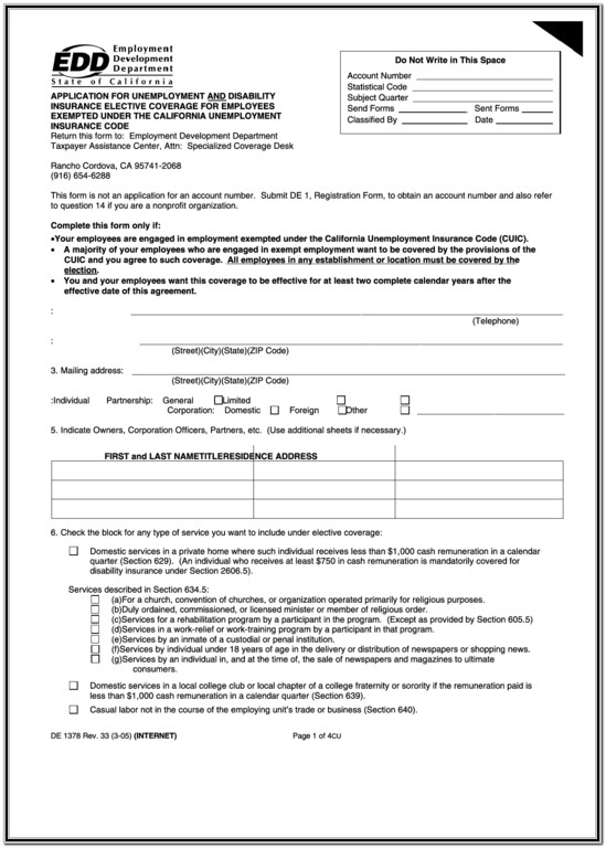 California State Disability Insurance Application Form