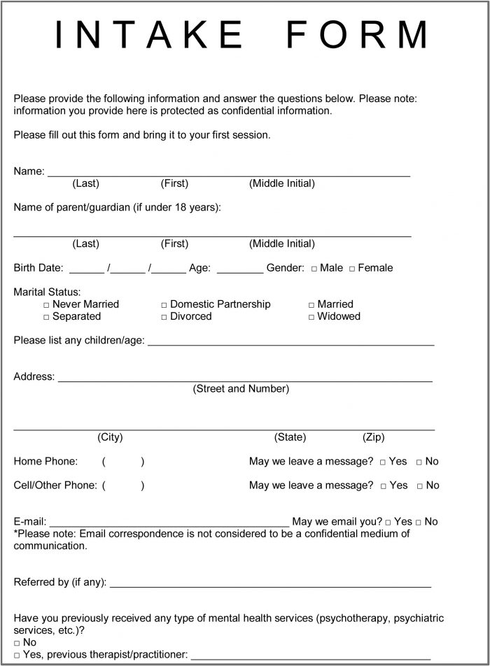 Client Intake Form Counselling Template