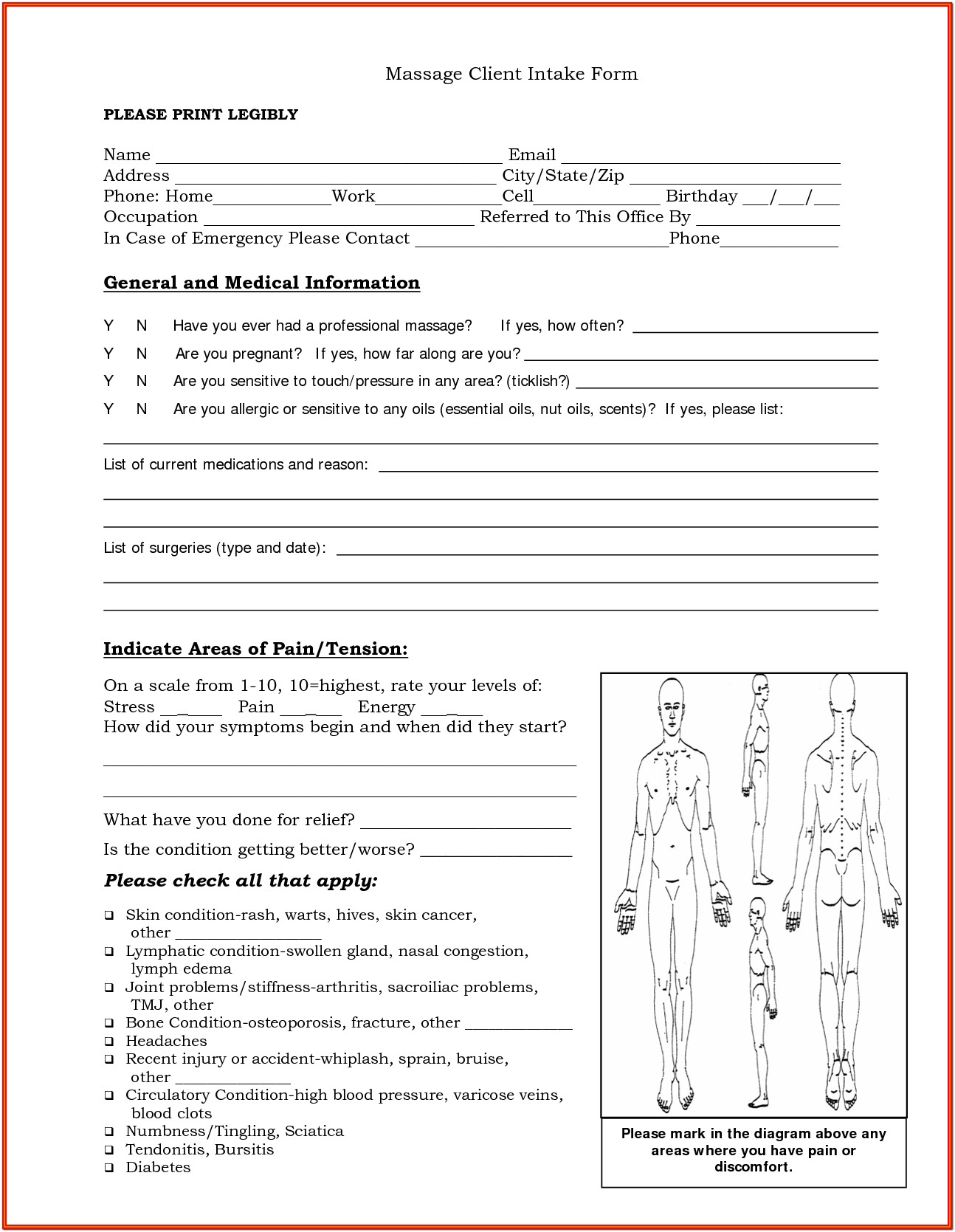 Client Intake Form Massage Therapy Template