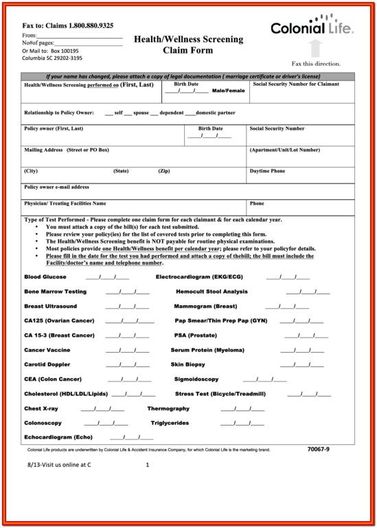 Colonial Life Insurance Wellness Forms