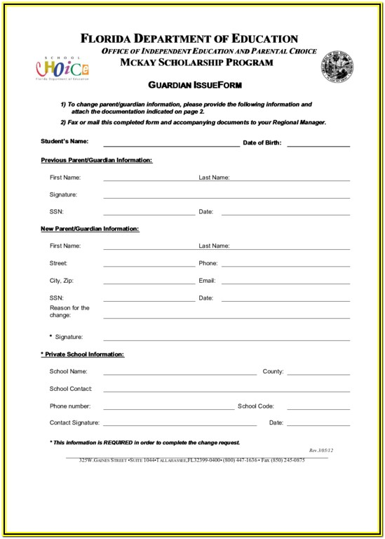 Educational Guardianship Form Florida