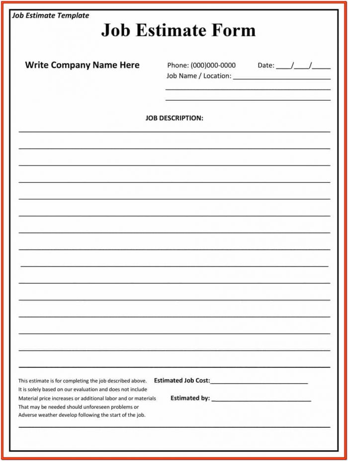 Free Fillable Job Estimate Form