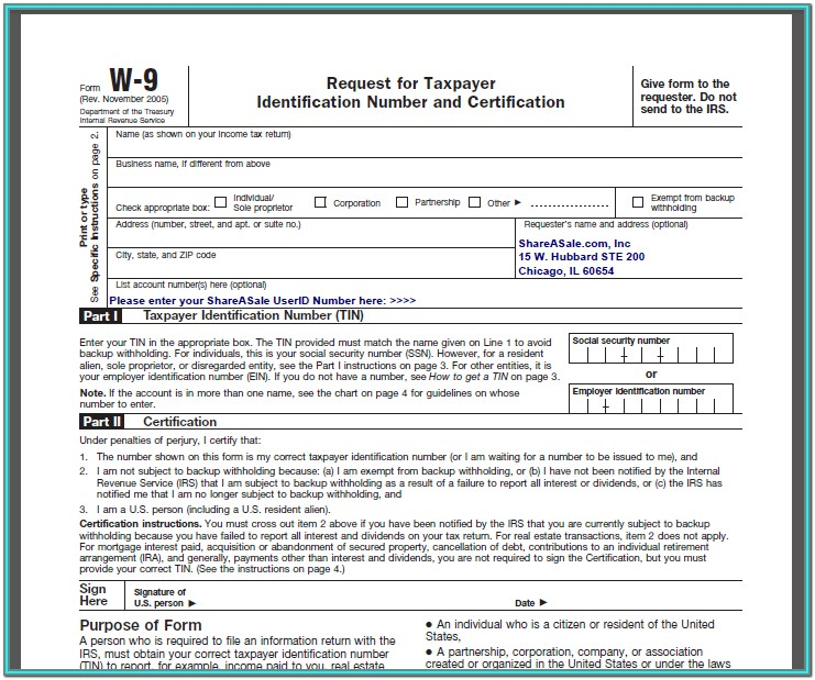 Free Fillable W 9 Form Irs