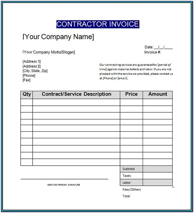 Free Printable Contractor Invoice Forms