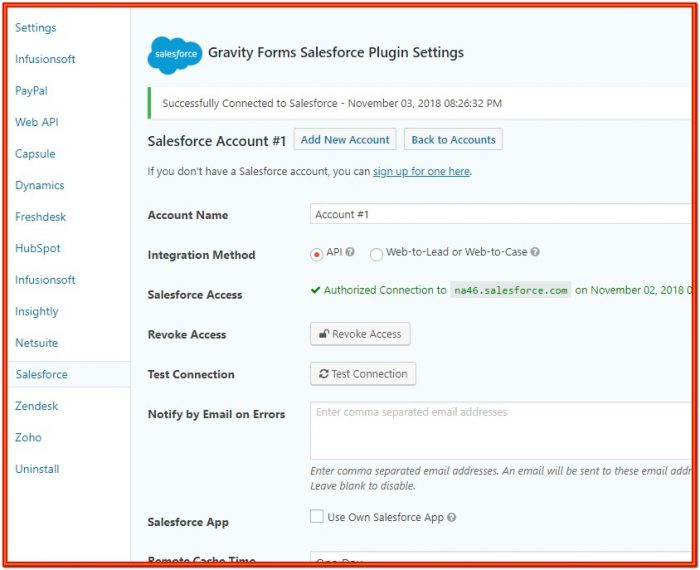 Gravity Form Salesforce Integration