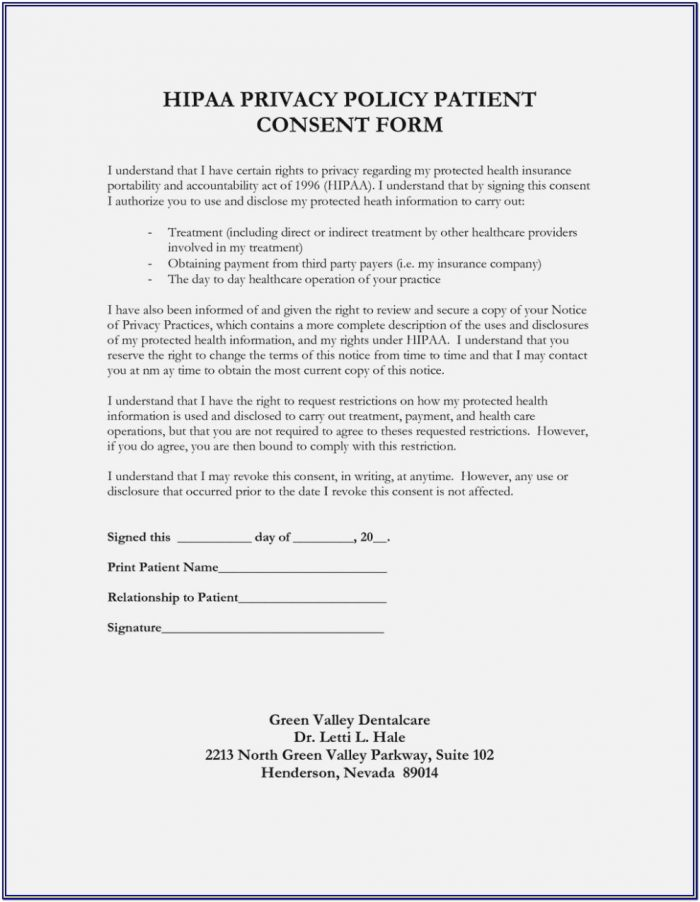 Hipaa Compliance Form For Dental Office