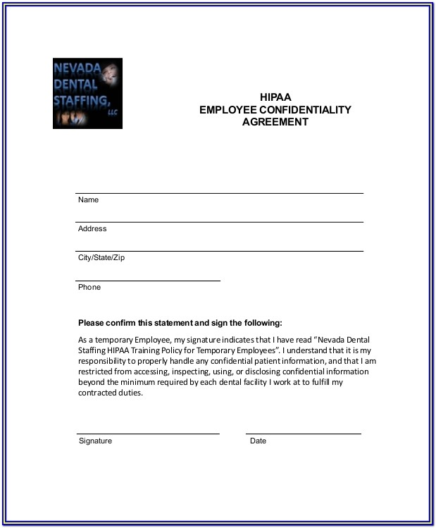 Hipaa Compliance Form For Medical Employees