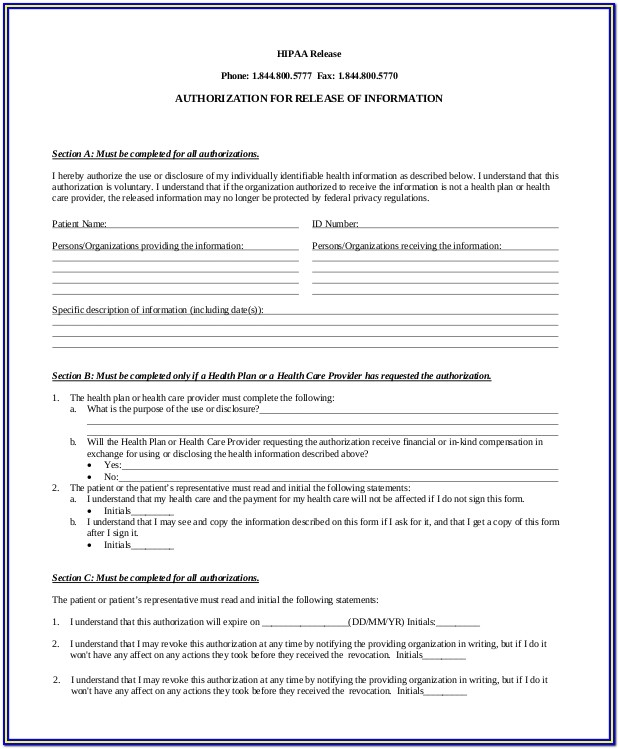 Hipaa Compliance Forms For Patients