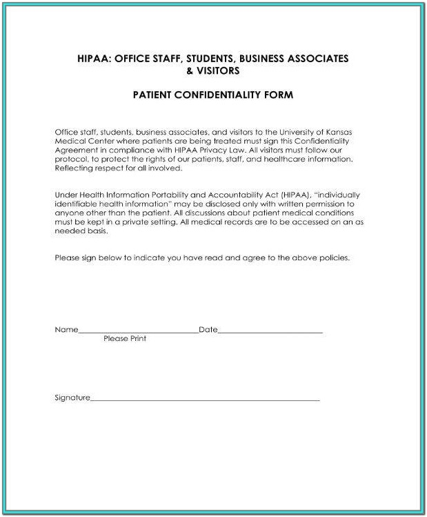 Hipaa Employee Form Template