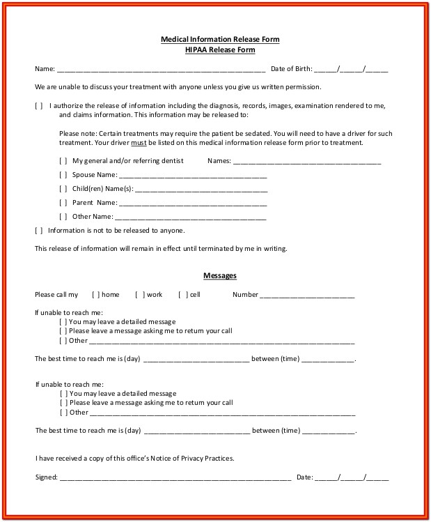 Hipaa Form For Parents