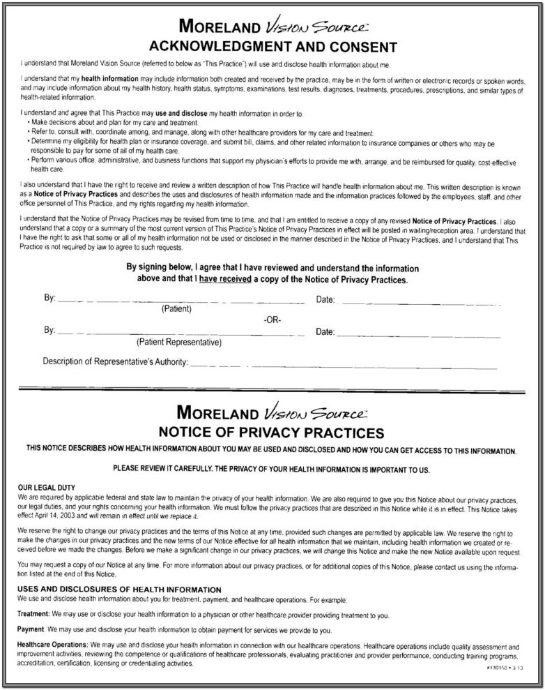 Hipaa Form For Patients 2018