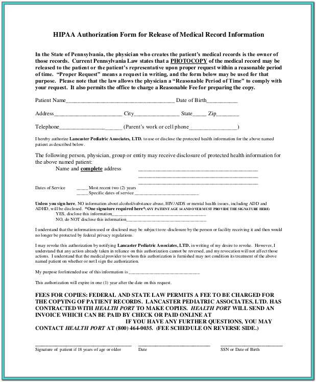 Hipaa Release Form Template