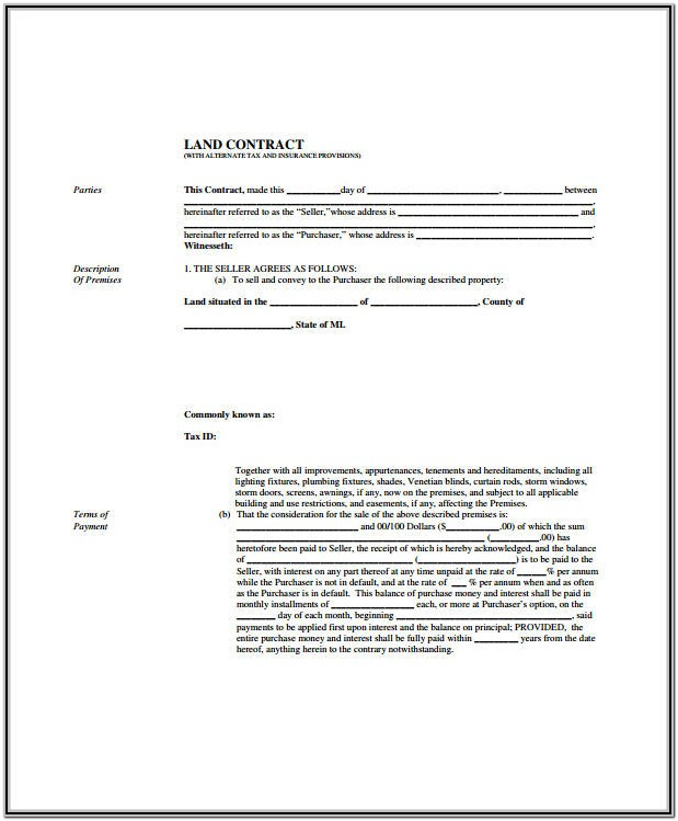 Land Contract Form State Of Michigan