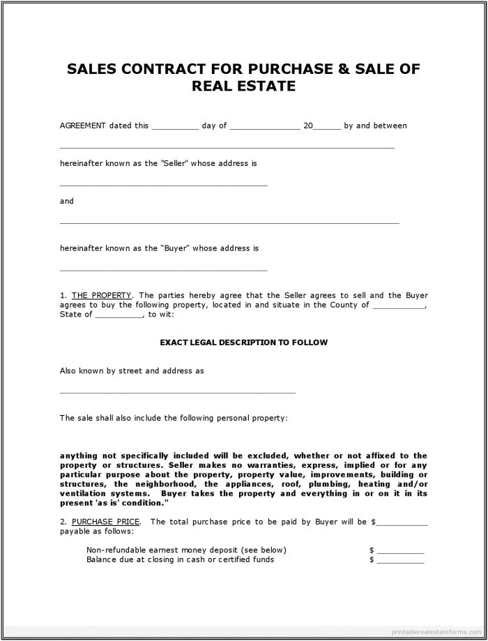 Land For Sale Contract Form Free