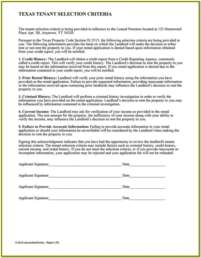 Landlord Tenant Background Check Form