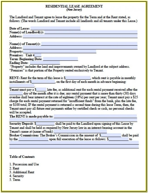 New Jersey Apartment Lease Agreement Form