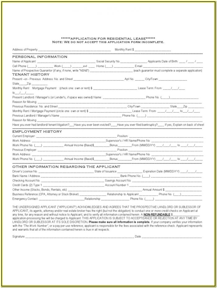 New Jersey Apartment Rental Application Form