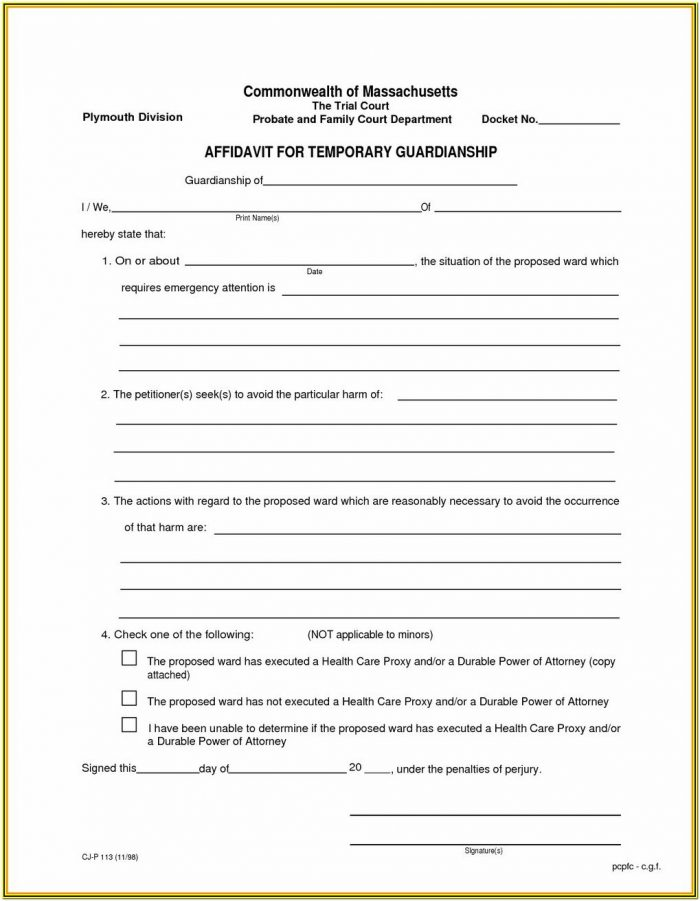 Permanent Guardianship Forms Florida