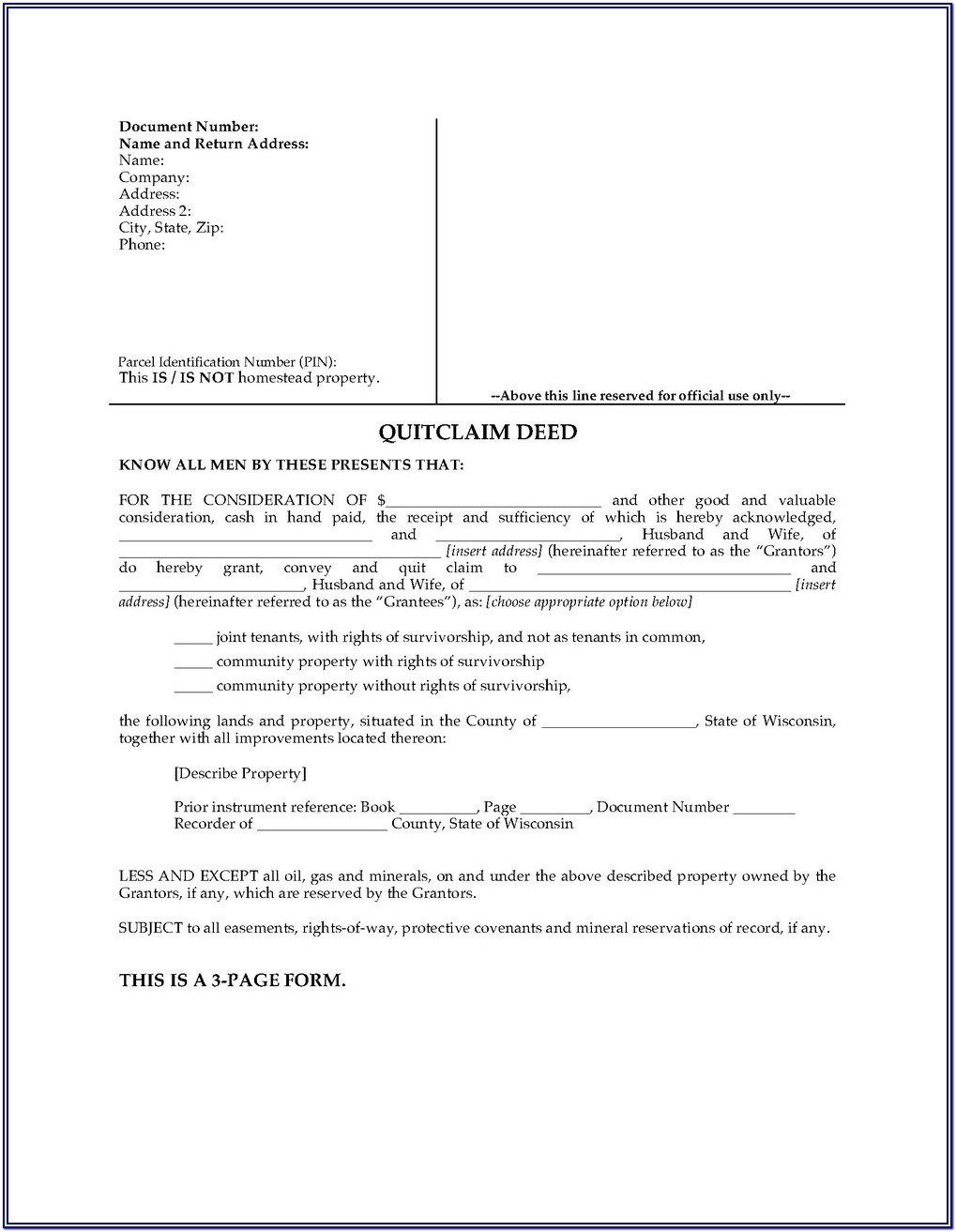 Pierce County Washington Quit Claim Deed Form