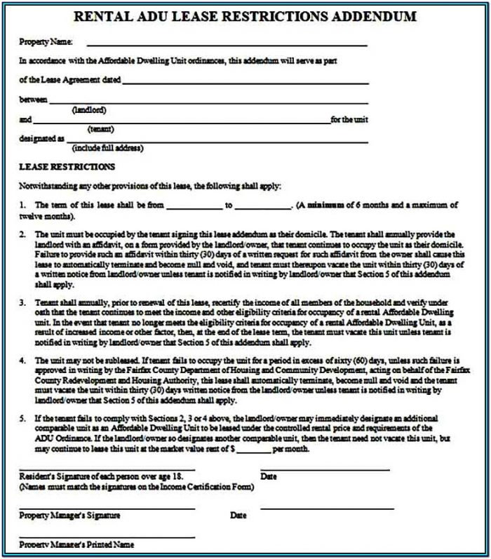 Residential Lease Addendum Form