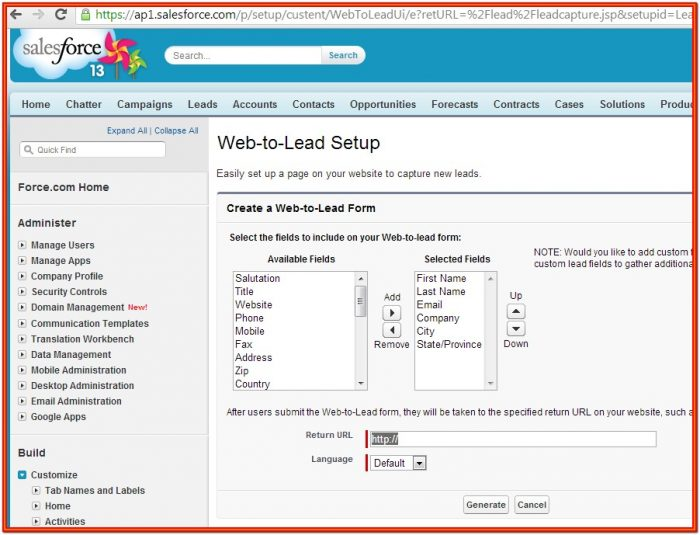 Salesforce Form Integration Web To Lead