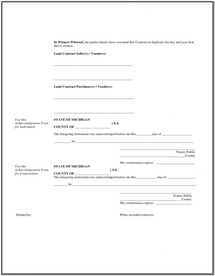 Sample Land Contract Forms Michigan
