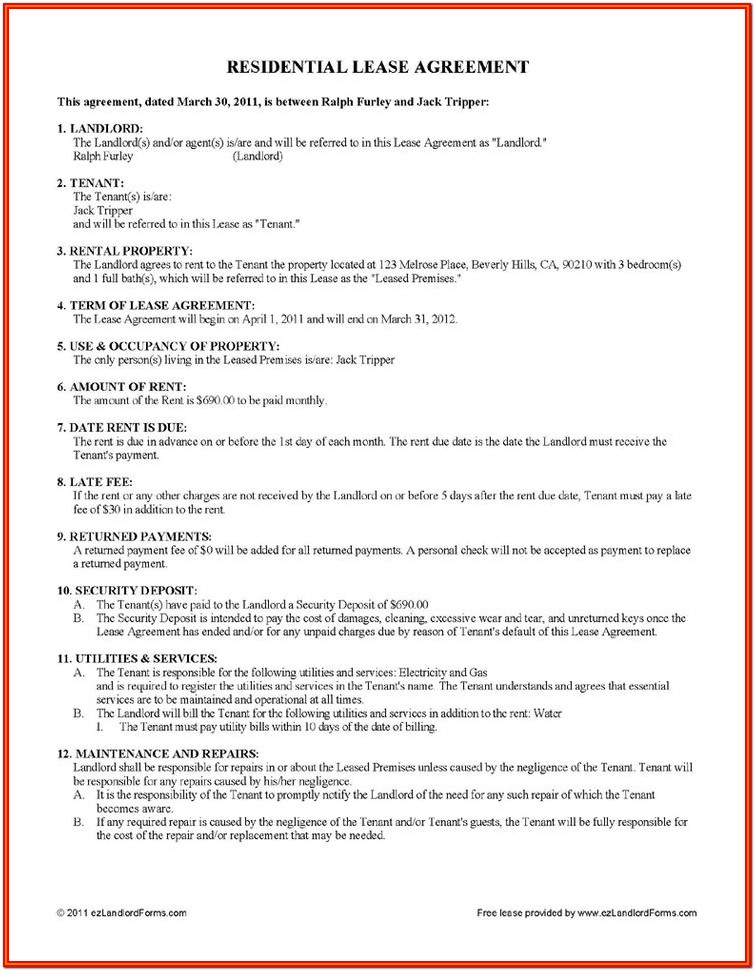 Simple Rent Lease Agreement Forms