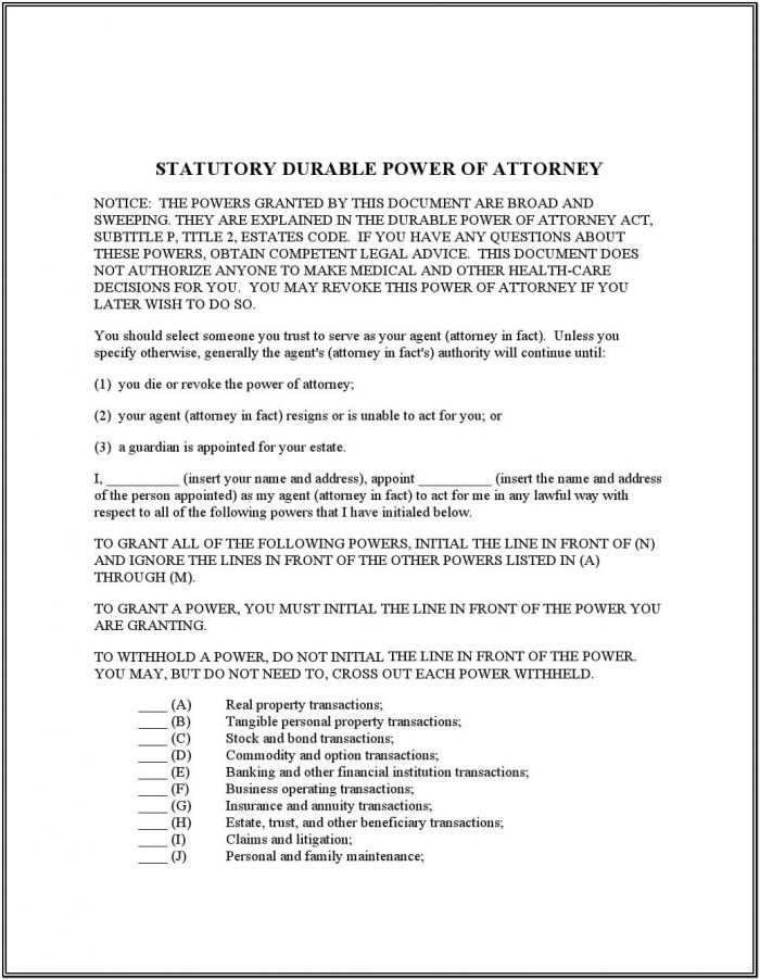 Statutory Durable Power Of Attorney Texas Form