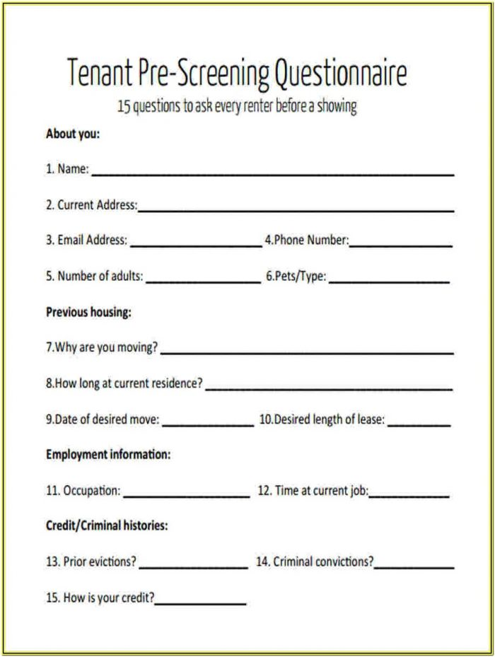 Tenant Background Check Form Pdf