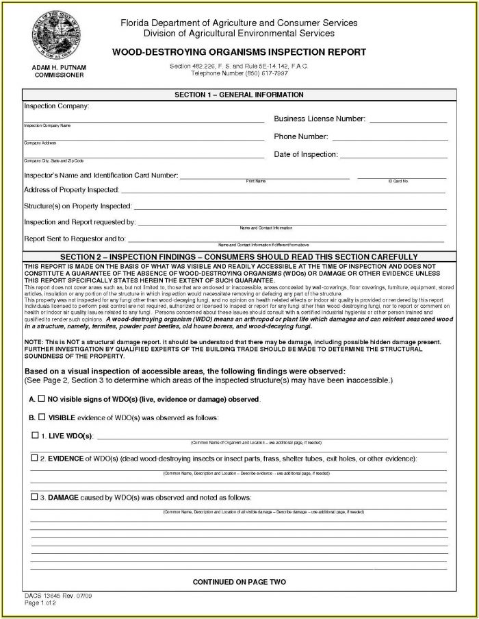 Termite Inspection Form For Va Loans