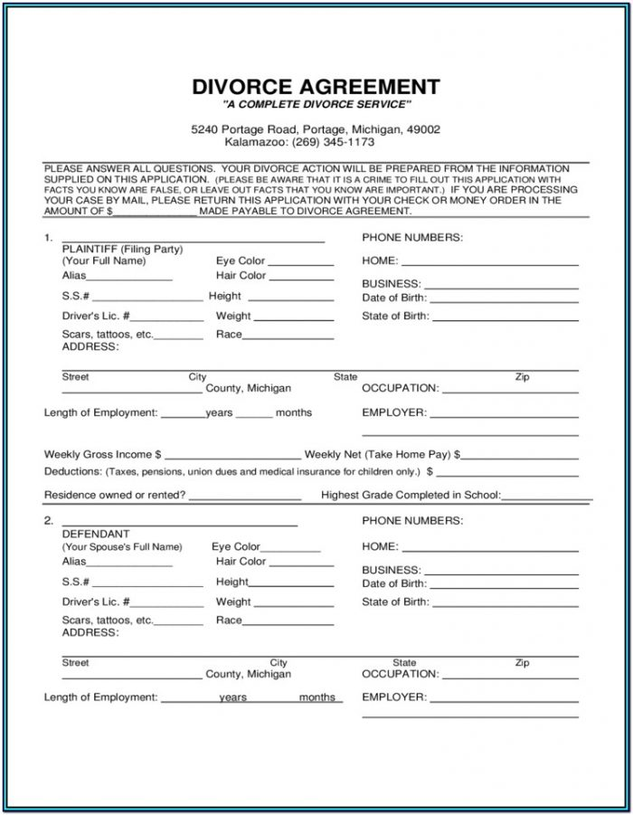 Uncontested Divorce Forms Michigan