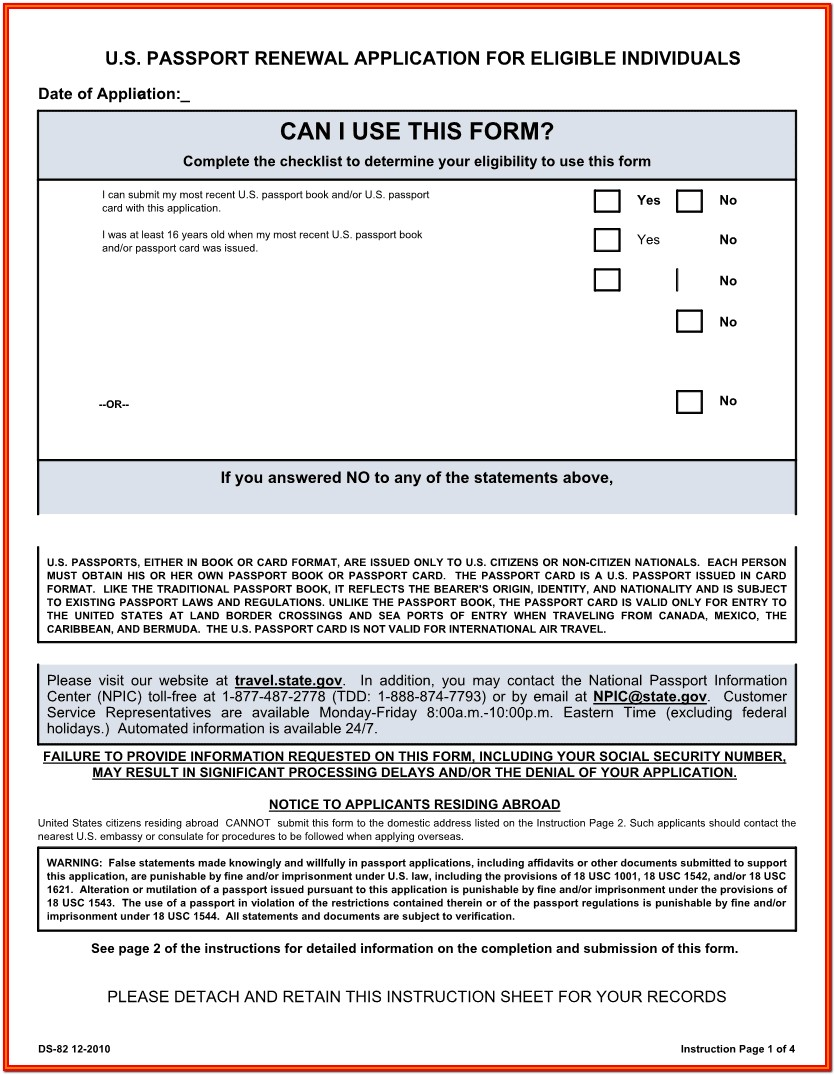 United States Passport Renewal Form Ds 11