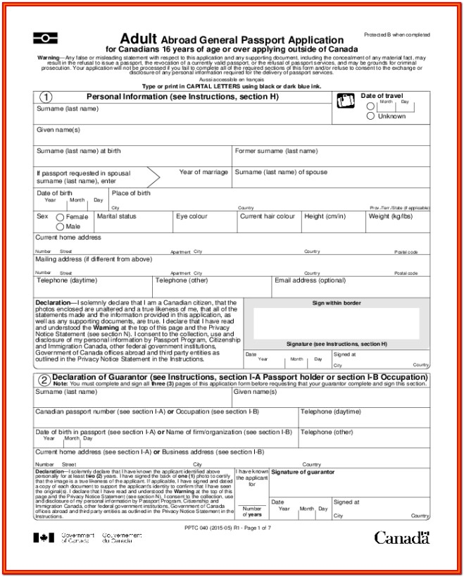 United States Passport Renewal Form For Minors