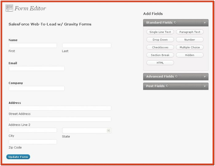 Web Form Salesforce Integration
