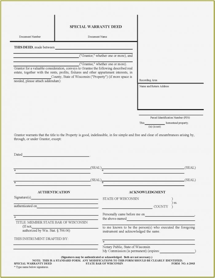 Wisconsin Quit Claim Deed Form 3 2003