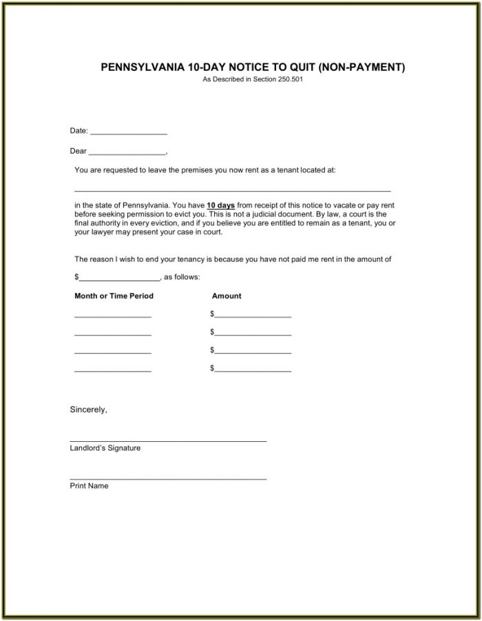 10 Day Eviction Notice Form