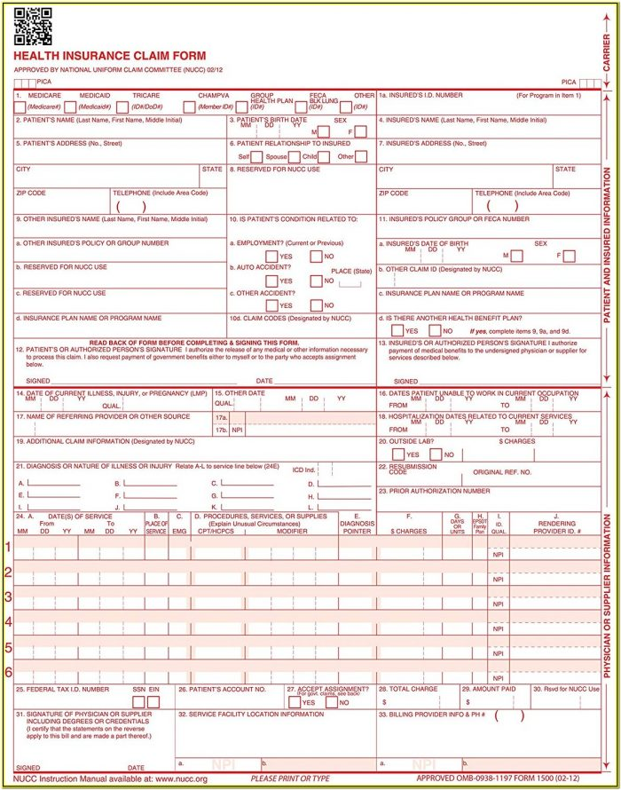 1500 Insurance Claim Form Template