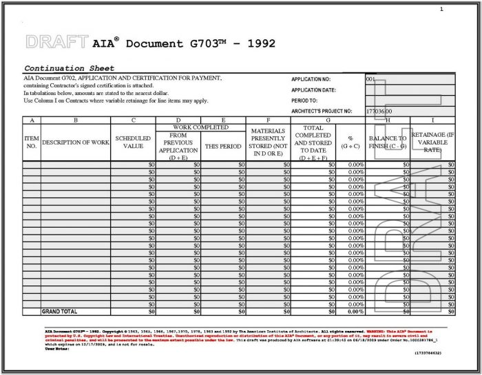 Aia G703 Form Excel