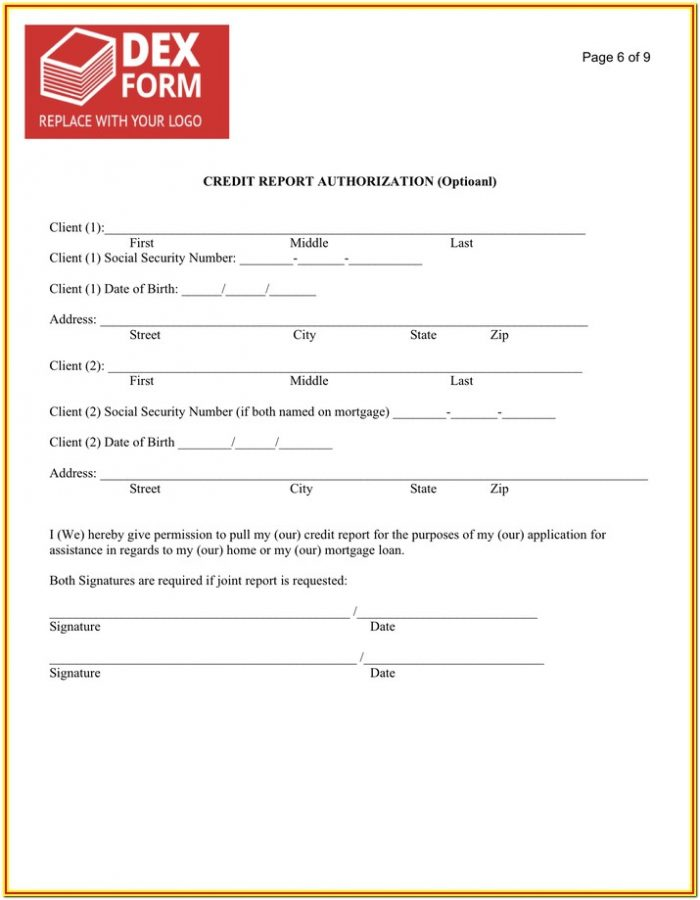 Authorization To Pull Credit Report Form