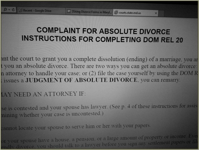 Baltimore County Divorce Forms