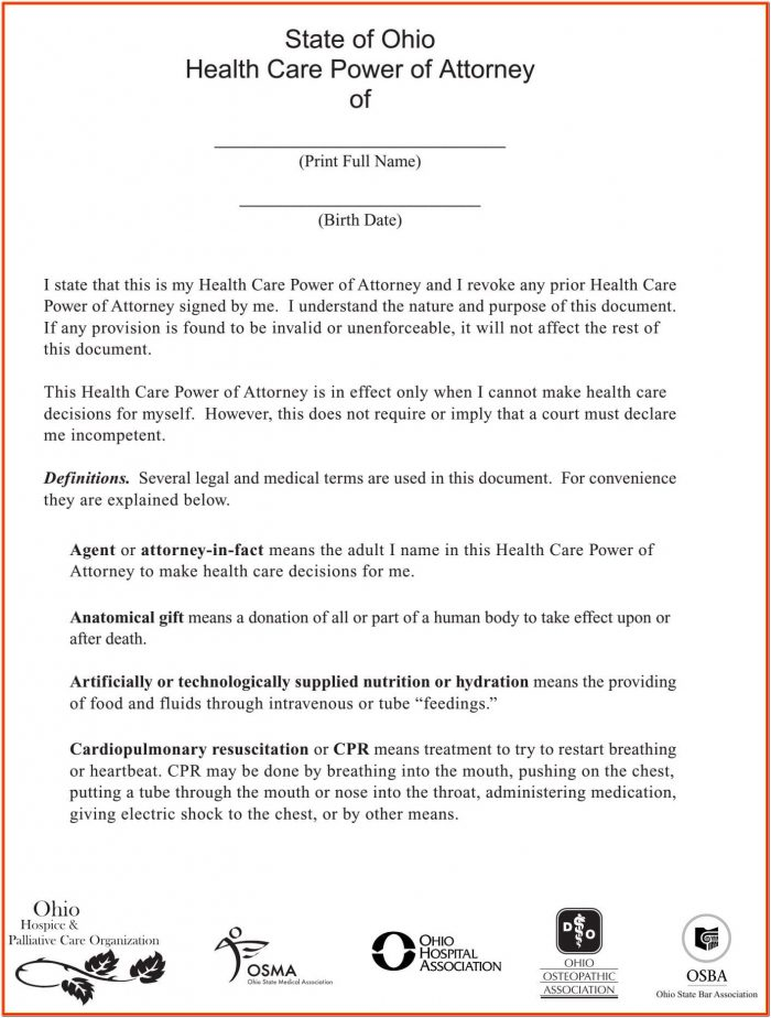 Blank Durable Power Of Attorney Form Tennessee