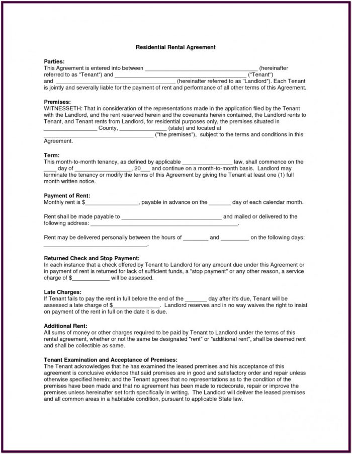 Blank Rental Lease Forms
